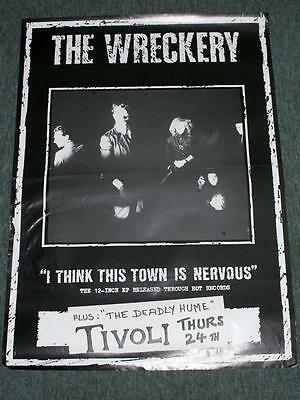 Vintage THE WRECKERY GIG POSTER -Australian Gothic Post-Punk Band 1985 85x61cms