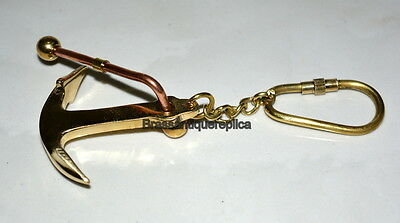 Brass Keyring Anchor Keychain Nautical