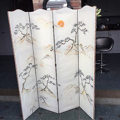 Vintage 4 Fold Dressing Screen Curve Top