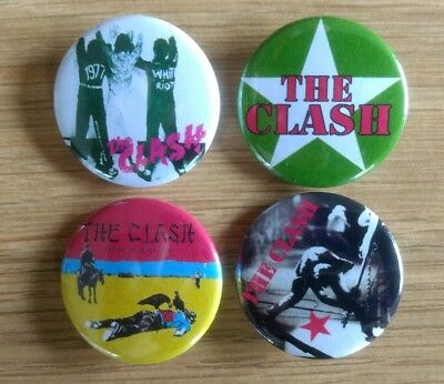 The Clash 25mm button badges set of 4 White Riot Tommy Gun London Calling