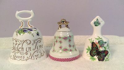 Bells Lot of 3 fine china England & Lefton butterfly pink roses and proverbs