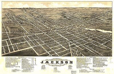12x18 inch Reprint of American Cities Towns States Map Jackson Michigan