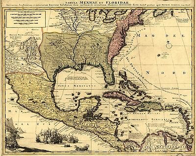 12x18 inch Reprint of Mexican Map Northern Usa