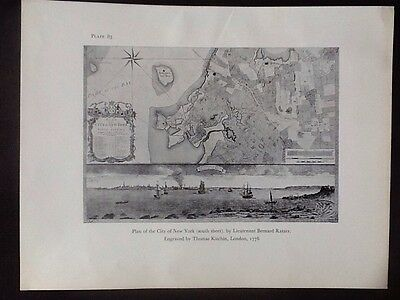 Decorative Reproduction Plan Of New York City, South, 1776, T Kitchin Book Plate