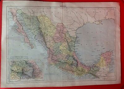 Antique Map Of Mexico, 1902