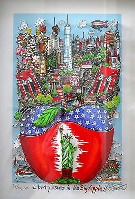 Charles Fazzino ** 3D Liberty Stands In The Big Apple! ** S/n Dx Gerahmt ! Top !