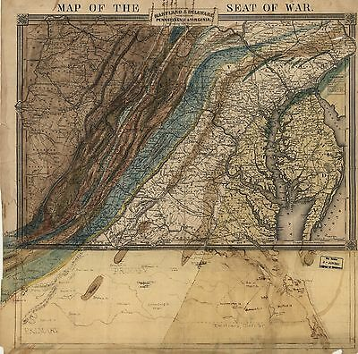 12x18 inch Reprint of American Military Map Virginia Maryland Pennsylvania