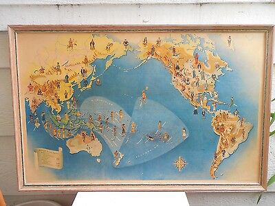 """1940 San Francisco Golden Gate Expo Peoples Of Pacific Map 36 3/4"""" X 24"""" Framed"""
