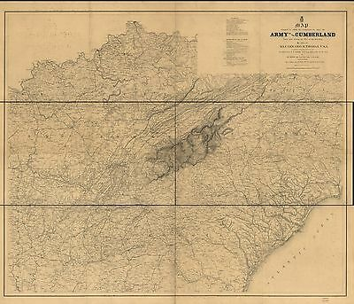 12x18 inch Reprint of American Military Map Army Cumberland