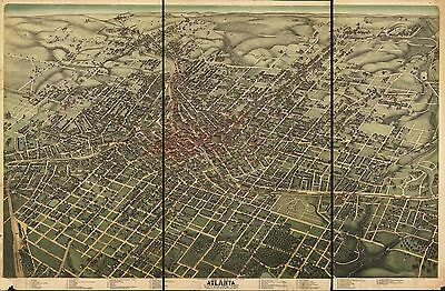 12x18 inch Reprint of American Cities Towns States Map Atlanta Georgia