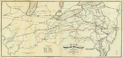 12x18 inch Reprint of American Railroad Map Great Lakes