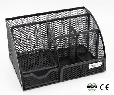 EasyPAG Office Mesh Desk Organizer 6 Compartment with Drawer ,Black