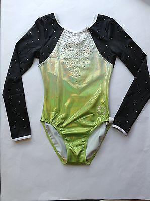 "Venus Ombre AME   36"" Lime to Silver Ombre Mystique Lycra Leotard"