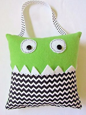 "Tooth Fairy Pillow Monster 7.5"" Square For Money Or Halloween Treats Handmade"