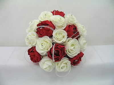 Wedding Flowers Ivory Rose, Red  Peony, Posy Bouquet, Bride/Bridesmaid,