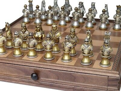 """Dal Rossi Italy """"Medieval Warriors"""" (Resin) Chess Set with 15"""" Chessbox with dra"""