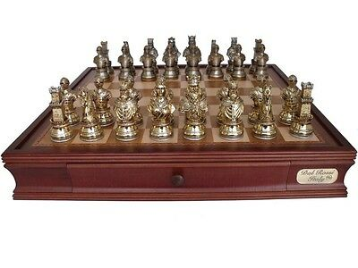"""Dal Rossi Italy Medieval Warriors Chess Set with Drawers 20"""""""