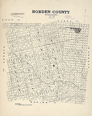 12x18 inch Reprint of American Cities Towns States Map Borden County