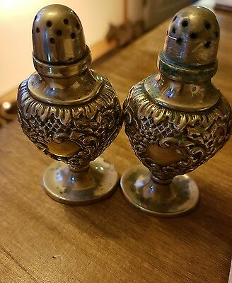 silver plate antique salt pepper shaker pots