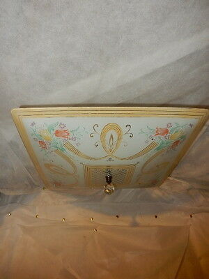 Ca. 1950's Art Deco Lighting  ceiling light by Porcelier with Floral Shade