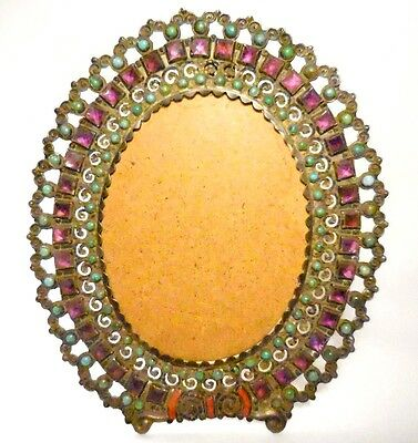 """1940-1959 """"matl"""" Matilde Oval Sterling Frame + Ameythst,turquoise & Coral-7-7/8"""""""