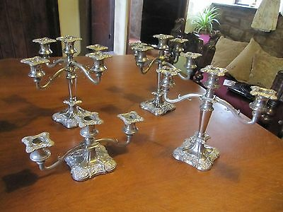 Antique Vintage 4 Ornate Silver Plated Candelabra / Candlesticks  Rococo Style