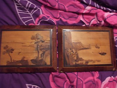 A Pair Of Sorrento Marquetry Pictures Dated 1944