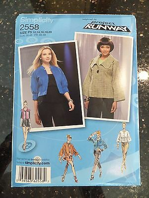 Simplicity 2558 Project Runway Misses Jacket Pattern - Size 12-20