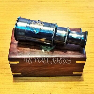 Brass Telescope With Wooden Box Nautical Collectible Antique Gift