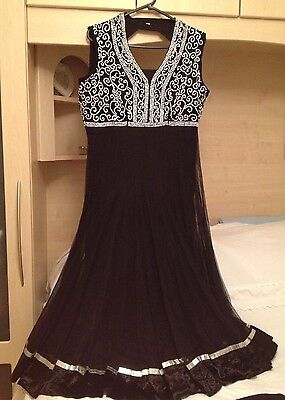 New Indian Black Anarkali Suit Size 14