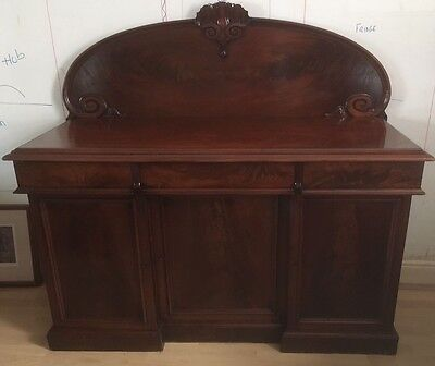 A VICTORIAN MAHOGANY SIDEBOARD WITH WELL MATCHED FLAME VENEERS GL14 Newnham