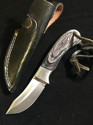"8"" Blue Pakka Wood Handle Hunting Knife Leather Sheath Stainless Steel Blade"