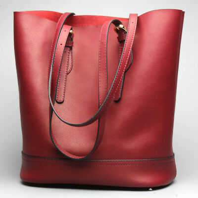 Women Genuine Leather Handbags Shoulder Messenger Bag Tote Purse Bucket Bags