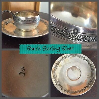 Antique French Sterling 950 Silver Coffee Tea Cup Saucer Flower Engraving No Mon