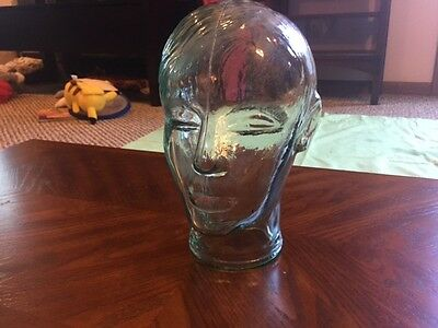 Vintage-Heavy-Clear-Glass-Mannequin-Head-Excellent