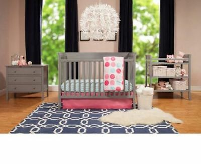 4 Piece Nursery Set Changing Table Gray Crib Dresser Convertible Lot Infant Baby