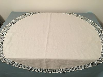 """Vintage White Cotton Table Skirt With Crochet Trim 42"""" Very Pretty And Well Made"""