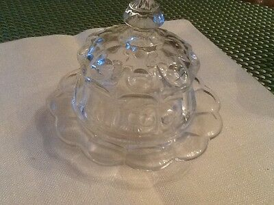 Vintage Mini Sugar/ Butter Dish Clear Glass