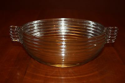 """Anchor Hocking Manhattan 9.125"""" Clear Glass Salad Bowl with Handles 1938-1943"""