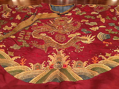 A Rare And Important Embroidered Formal Dragon Robe (Chaopao) Qing Dynasty.