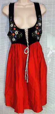Traditional Swiss Austria Dirndl Dress Costume Red Black Velour Embroided 12 90