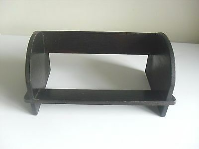 VINTAGE SMALL VERY DARK OAK BOOK REST STAND TROUGH SHELF, IDEAL FOR CD OR DVD's