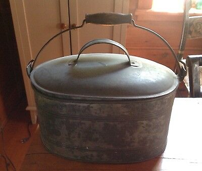 Wonderful Early New England Tin Hand Sautered Tole Oval Lunch Box