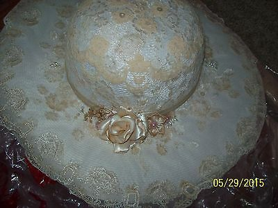 Whte and Ivory Lace & Beaded Hat Bridal, vintage style