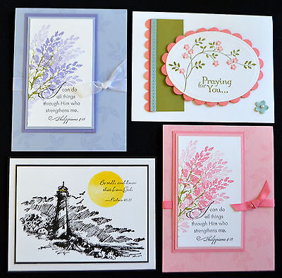 Lot of 4 handmade SCRIPTURE verse floral & lighthouse cards  ~uses Stampin Up