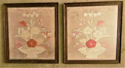 PAIR ANTIQUE 19thC JAPANESE SILK ON SILK FRAMED /GLAZED FLORAL EMBROIDERY PANELS