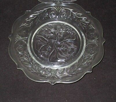 """4 Rock Crystal Depression Glass 8 1/2 """" S.e. Salad Plates All In Mint Condition"""