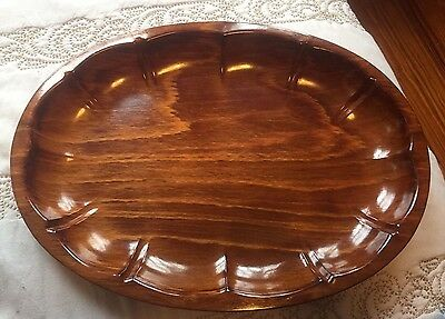Vintage Gerling Sol Ohligs Foreign Wooden Wood Platter Bowl Oval Ornate Tray