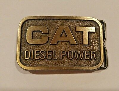Vintage 1982 Caterpillar Tractor Cat Diesel Power Belt Buckle Sales Guide EUC