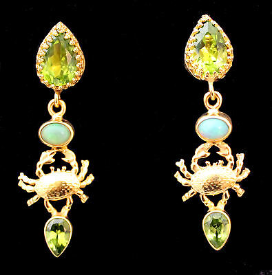 Chandeliers Crab, Cancer, Opal, Peridot, Yellow gold from 925 Sterling silver